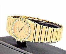 Omega Constellation 18K 750 Gold Diamond Bezel & Dial Ladies Watch Free Shipping