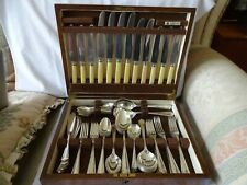 ART DECO SILVER PLATED A1 OAK CANTEEN CUTLERY BY GLADWIN SHEFFIELD 72 PIECES