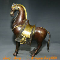 "10""Ancienne Chine Rouge Bronze Dynastie Zodiac Animal Stand Cheval Succès Statue"