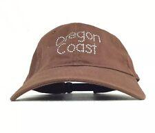 OREGON COAST Rhinestones Logo Brown Baseball Cap Hat Adj Adult Size Cotton