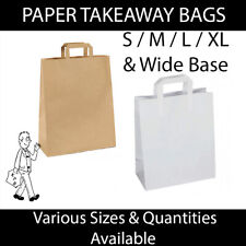 More details for brown & white kraft paper carrier bags food takeaway party bags s m l xl & wide