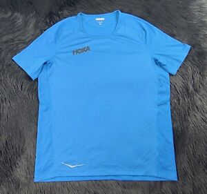 Hoka One One Men's (M) Performance Blue Polyester Shirt Shipped Promptly 💨