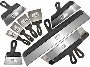 11 PCS - DRYWALL TAPING, FILLING KNIFE, KNIVES, SCRAPER, PLASTERING SPATULA, SET