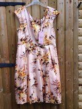 Oasis Aspecto Vintage Vestido Con Cuentas & Lentejuelas Naranja Rosa Talla 14