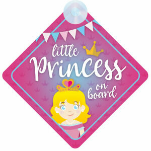 Princess On Board (022) Non Personalised Car Sign Baby Girl/Child Gift/Present