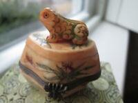 NYP Vintage Hand Carved Bovine Bone Frog on Engraved Trinket Box W Storage Box
