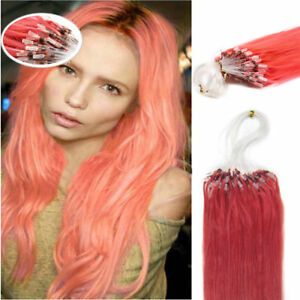 18Inch 100% Remy Loop Micro Ring Silicone Beads Human Hair Extensions 100S #PINK