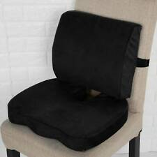 2PCS Memory Foam Chair Seat Cushion Lumbar Back Support Orthopedic Pain Relief