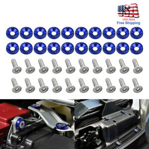20PC JDM Billet Aluminum Fender Bumper Washer Bolt Engine Bay Dress Up Kit Blue