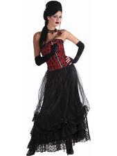 Women's Sexy Long Black Lace Burlesque Saloon Gathering Skirt