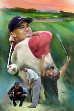 Tiger Woods : giclee print on canvas poster painting no autograph n-043