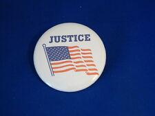 """JUSTICE"" American Flag BUTTON pin pinback PATRIOTIC  U.S.A. USA  award pride"