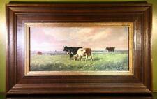 Ölgemälde auf Mahagoni Kühe auf der Wiese vermutlich G. van Berg 1887 Original !