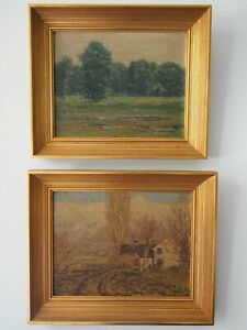 Early LeConte Stewart Pair of Oil on Canvas to Board Paintings - Utah Artist