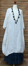 LAGENLOOK AMAZING 100% LINEN PARACHUTE 2 POCKETS LONG DRESS*WHITE*BUST 46-48""