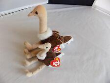 Stretch the Ostrich TY Original Beanie Baby and McDonald's Stretch Teenie Beanie