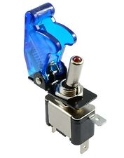 Blue illuminated LED Toggle Switch With Missile Style Flick Cover Car Dash 12V