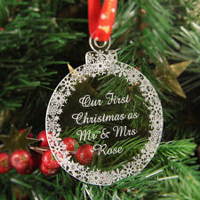 Personalised Christmas Tree Decoration Engraved Bauble Gift, Mr & Mrs First Xmas