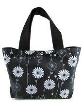 "Black Daisy Soft Vinyl Washable Small Tote Hand Bag (13"" Width)"