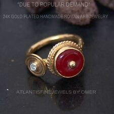 RED JADE HANDMADE RING  BY OMER 24K YELLOW GOLD OVER 925K SILVER