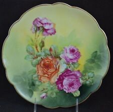 LRL Limoges Factory Decorated Red Orange Roses Stunning Plate