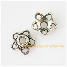 40Pcs Tibetan Silver Tone Star Flower End Bead Caps Connectors 11mm