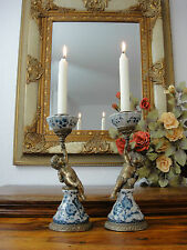Kerzenleuchter Engel Porzellan Bronze Putte Zwiebelmuster Antik Kerzenständer