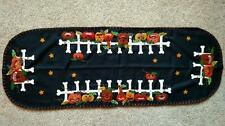"46"" Handmade Wool Flannel Embroidered Jack O Lantern HALLOWEEN Table Runner"