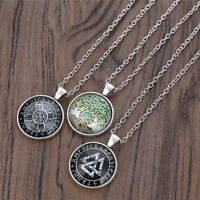 Unisex Celtic Silver Cabochon Necklace Souvenir Chain Lovely Jewellery Chic Gift