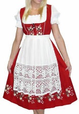 Sz 26 German Dirndl Women Dress Oktoberfest Red Long Waitress Party EMBROIDERED