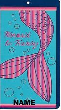 """30"""" x 60"""" Name Embroidered Beach / Pool Towel With Mermaid In Training Tail"""