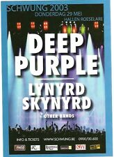LYNYRD SKYNYRD DEEP PURPLE in Belgium 2003 Tour Flyer/mini Poster 8x6 inches