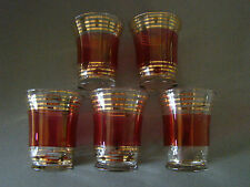 Vintage CRANBERRY & CLEAR CORDIAL GLASSES w/GOLD BANDS~SET OF 5