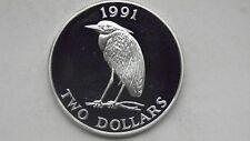 1991 Bermuda $2 Heron Silver Proof coin