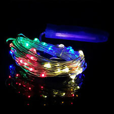 Button Cell Battery Power Copper String Fairy Light 1M 10LED Xmas Wedding Lights