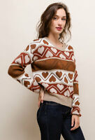 Snuggly Warm Rust & Cream Heart Pattern Knitted Jumper 8 10 12 14 Retro 80s Y2K