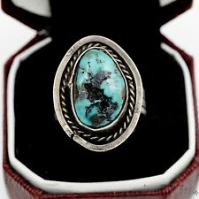 Antique Vintage Sterling Silver Native Pawn Navajo Blue Bird Turquoise Ring 6.5