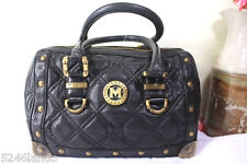 METRO CITY Black Studded Leather Speedy Doctor Dr. Bag Italy