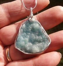 Beautiful S. Silver Wire Wrapped Botryoidal Hemimorphite Pendant Necklace