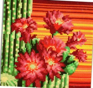 CACTUS IN FLOWER - EASY NEEDLEPOINT TAPESTRY CUSHION KIT to stitch- 40CM  SALE!!