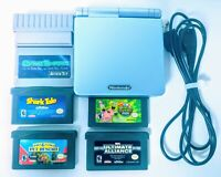 Nintendo GameBoy Advance SP AGS-101 Bright Pearl Blue System + 4 Games GameShark