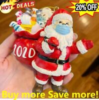 2/4/6xChristmas Tree Ornaments 2020 Santa Wearing Mask Hanging Decor Family Gift