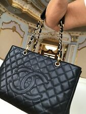 CHANEL Authentic GRAND SHOPPER TOTE Black Caviar With Gold Hardware Bag