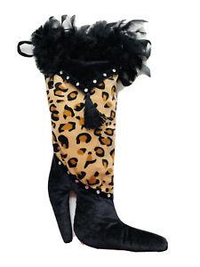 21 In Black White Tiger Print Fur Beaded Red Velvet Boot Christmas Stocking