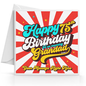 Personalised 75th Birthday Card Male Husband Grandad Uncle Brother Dad Friend