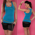 New Sexy Ribbed Singlet Style Tank Top with Lace & Pearls - Black - Size 12 - 14