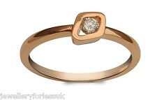 18Carat Rose Gold Designer Diamond Solitaire Ring 0.14 carats GSI