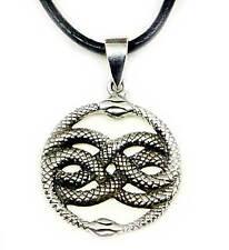 Auryn Schlangen Anhänger Silber 925+Lederband,Amulett Aurin,Unendlichkeit Symbol