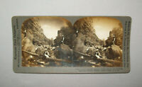Antique Vtg 1900s Hikers on the River Boulder Canyon Stereoview Photo Card Nice