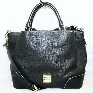 DOONEY & BOURKE Small Brenna Satchel Crossbody Bag Black Pebble Florentine Lthr